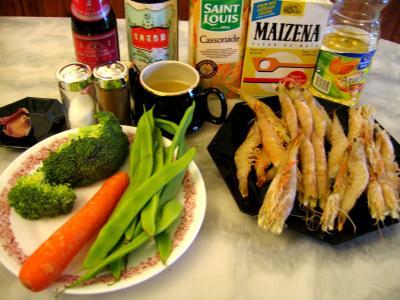 Ingrédients pour la recette : Sauté de crevettes aux légumes