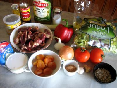 Ingrédients pour la recette : Coeurs de canard à la laitue