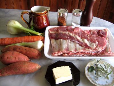 Ingrédients pour la recette : Poitrine de porc aux patates douces
