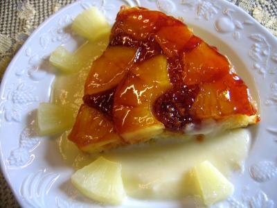 gâteau noix de coco : Tranche de gâteau à l'ananas