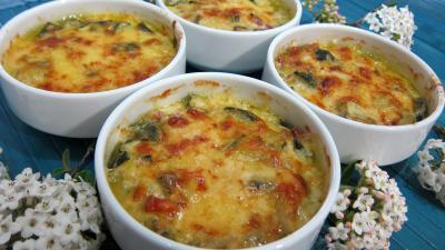 Sauce béchamel : Cassolettes de courgettes au gratin