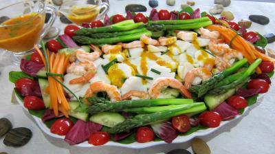 entrée à base de poisson : Assiette de noix de saint Jacques en salade
