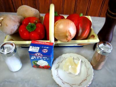 Ingrédients pour la recette : Purée de poivrons rouges