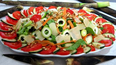 Sauce au câpres minceur : Assiette de pousses de bambou en salade