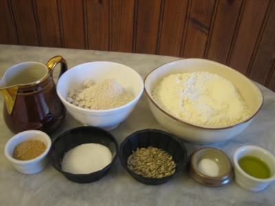 Ingrédients pour la recette : Pain complet aux graines de tournesol