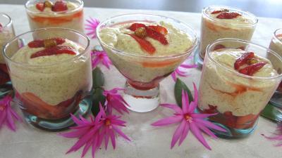 Image : recette Mousse aux noisettes et aux fraises