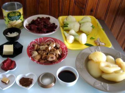 Ingrédients pour la recette : Foies de volaille aux poires
