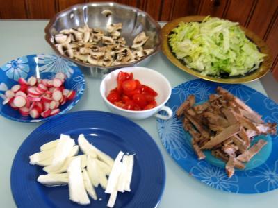 Ingrédients pour la recette : Restes de langue de boeuf en salade