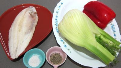 Ingrédients pour la recette : Sole et légumes vapeur