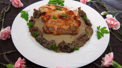 morille : Assiette d'escalopes de dinde sauce aux morilles