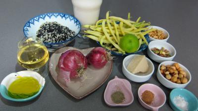 Ingrédients pour la recette : Risotto aux haricots verts et mendiants