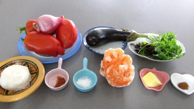 Ingrédients pour la recette : Tomates farcies aux crevettes