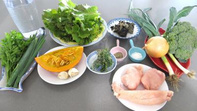 Ingrédients pour la recette : Soupe minceur de batavia et légumes