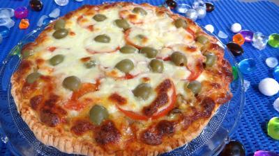 huile de tournesol : Assiette de pizza à l'aubergine