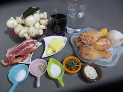 Ingrédients pour la recette : Pilons de poulet à la bourguignonne