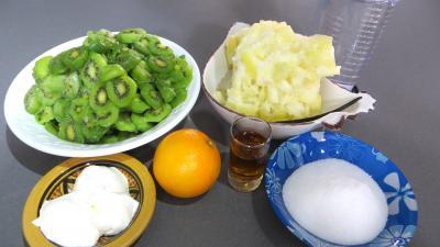 Ingrédients pour la recette : Coulis de kiwis et courge