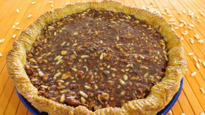 tarte au chocolat : Tarte au caramel aux mendiants