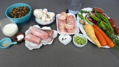 Ingrédients pour la recette : Soupe de lentilles à la saumonette