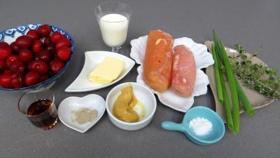 Ingrédients pour la recette : Sauce aux cerises et ses blancs de poulet