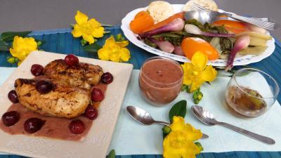 Sauces : Sauce aux cerises et ses blancs de poulet