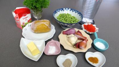 Ingrédients pour la recette : Tagliatelles aux petits pois