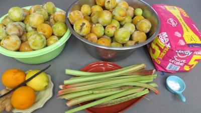 Ingrédients pour la recette : Confiture de prunes jaunes à la rhubarbe