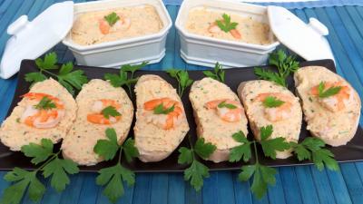 entrée à base de coquillages et crustacés : Tartines et pâté de crevettes