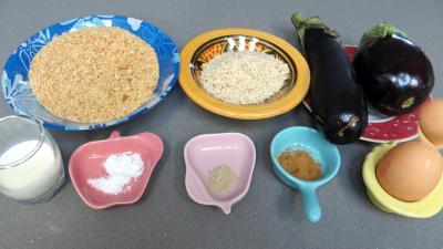 Ingrédients pour la recette : Aubergines panées aux amandes