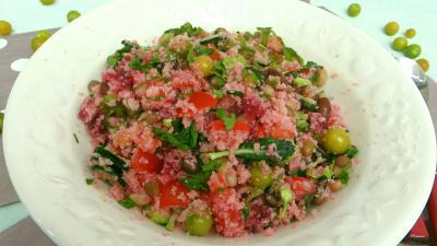 Pour débutants : Saladier de salade de couscous aux physalis