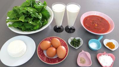 Ingrédients pour la recette : Flans aux épinards et caillaou