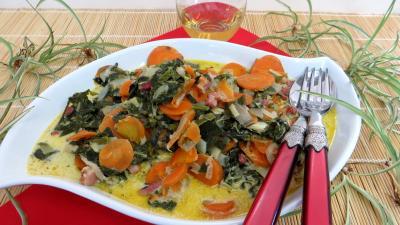 cumin : Assiette de carottes et blettes façon carbonara