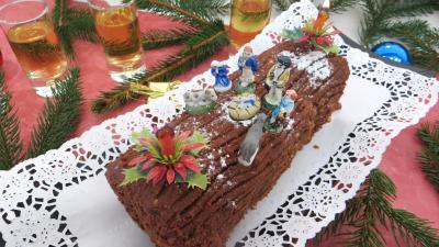 gâteau au chocolat : Bûche de Noël aux marrons