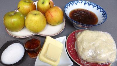 Ingrédients pour la recette : Tarte aux pommes à l'armagnac