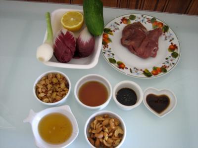 Ingrédients pour la recette : Veau au miel en salade