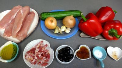 Ingrédients pour la recette : Blancs de poulet aux poivrons