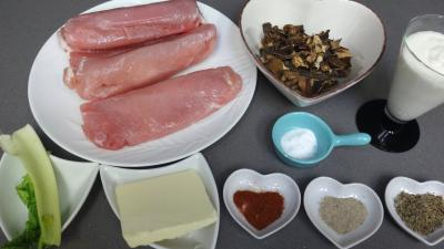 Ingrédients pour la recette : Blancs de dinde aux cèpes