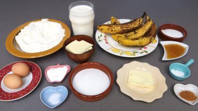 Ingrédients pour la recette : Gaufres aux bananes