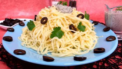 Olive noire : Nouilles à la crème d'olives