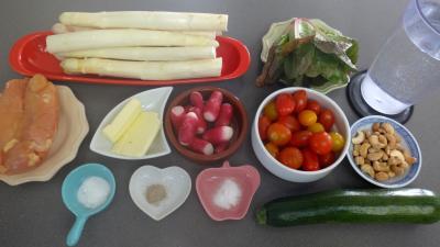 Ingrédients pour la recette : Poulet aux asperges en salade