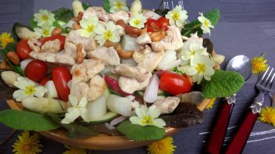 Recette Assiette de poulet aux asperges en salade