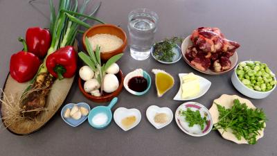 Ingrédients pour la recette : Riz aux coeurs de canard