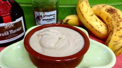 grand marnier : Ramequin de crème glacée à la banane
