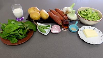 Ingrédients pour la recette : Fèves et légumes à l'oseille