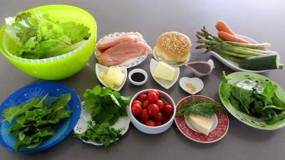 Ingrédients pour la recette : Salade aux blancs de poulet