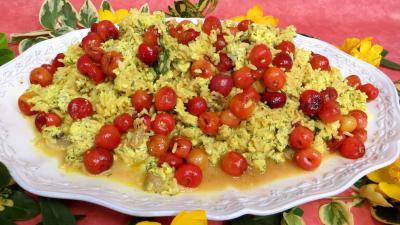 Volailles et gibiers : Assiette de risotto aux cerises
