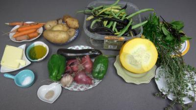Ingrédients pour la recette : Sauté de potimarron et légumes
