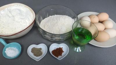 Ingrédients pour la recette : Tagliatelles fraîches à la farine complète