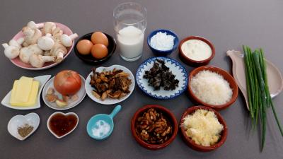 Ingrédients pour la recette : Clafoutis aux champignons