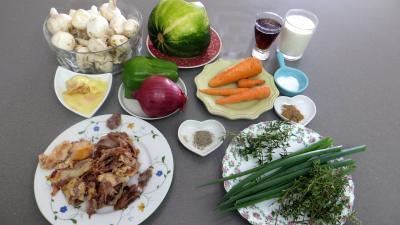 Ingrédients pour la recette : Panaché de légumes au confit de canard