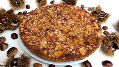 Recette Assiette de clafoutis aux pommes et châtaignes